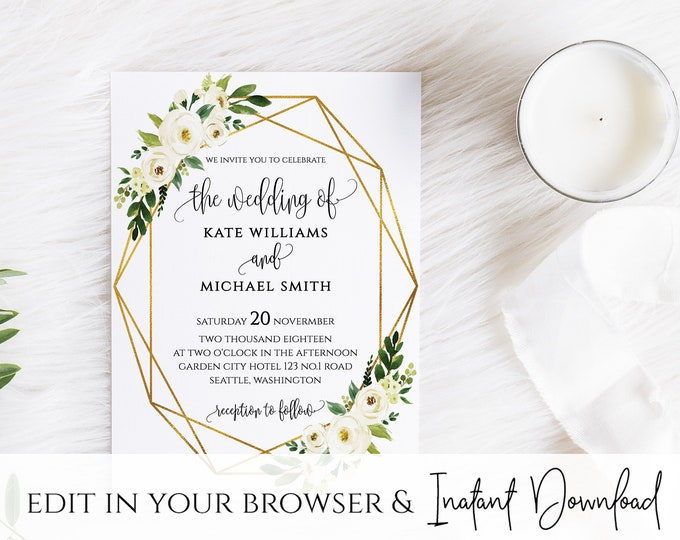White Floral Greenery Foliage Wedding Invitation Template White Floral Wedding Invitation Printable White Floral Wedding Invitation Template