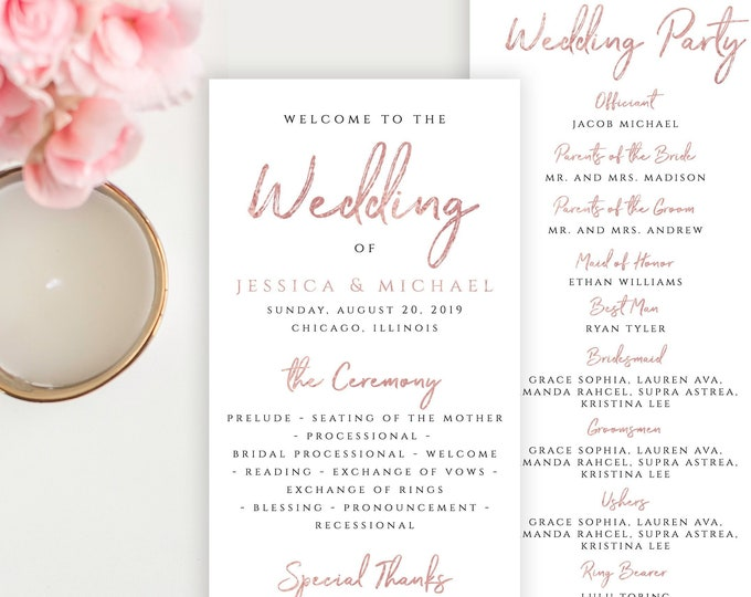 Rose Gold Wedding Program Template Printable Flat Program Template Printable Editable Wedding Program Rose Gold PDF JPEG Instant Download M1
