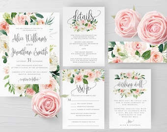 Blush White Floral Wedding Invitation Suite Template Printable Wedding Invitation Kit Template Editable Wedding Templett Instant Download F5