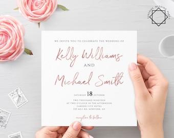 Rose Gold Wedding Invitation Template Printable Flat Wedding Invitation Template Printable Wedding Invitation Template Rose Gold PDF JPEG M1