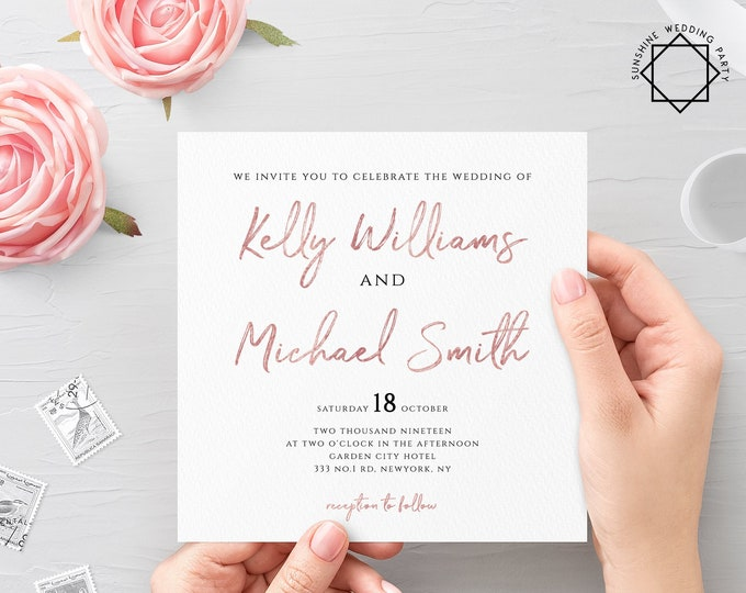 Rose Gold Wedding Invitation Template Printable Flat Wedding Invitation Template Printable Wedding Invitation Template Rose Gold PDF JPEG M1