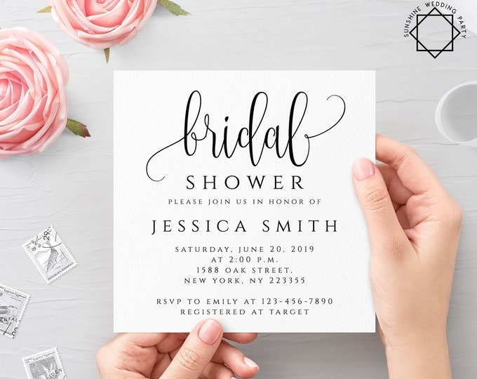 Bridal Shower Invitation Template Editable Bridal Shower Invitation template Printable Bridal Shower Invite Instant Download 5x5 PDF JPEG R1