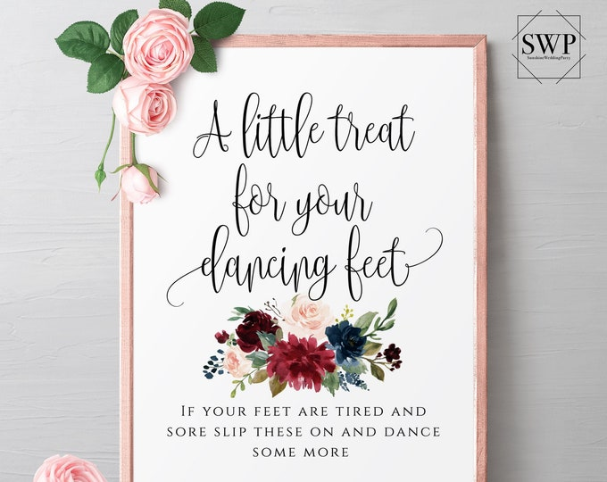 A little treat for your dancing feet Sign Wedding Sign Template Ceremony Sign Printable Editable Wedding Signs Instant Download Templett F3