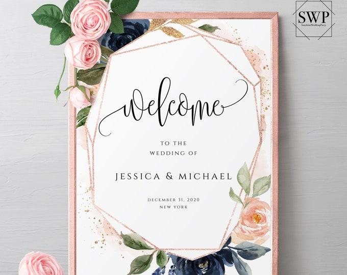 Navy Blush Floral Wedding Welcome Sign Printable Template Wedding Sign Editable Welcome Sign Welcome to our Wedding Template Templett F6
