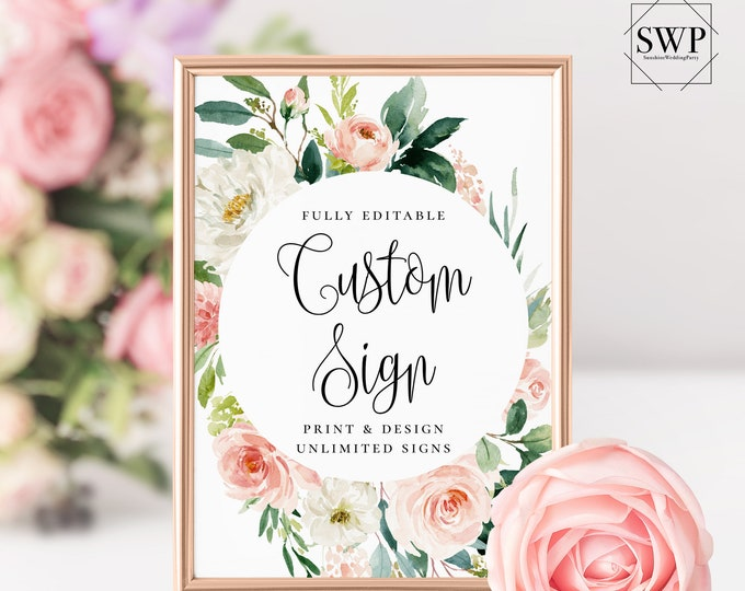 Unlimited Wedding Signs Custom Sign Template Boho Blush Florals Sign INSTANT DOWNLOAD Templett 100% Editable Text Printable Sign 5x7 8x10 F5