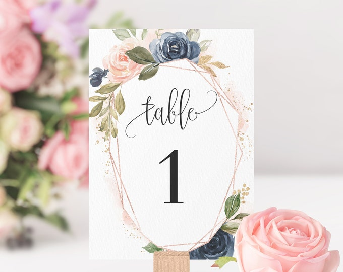 Wedding Table Number Sign, Navy Blush Wedding, Printable Template, Editable Text, Wedding Ceremony Template, Instant Download, Templett, F6