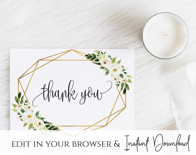 White Floral Greenery Foliage Thank You Card Template White Floral Wedding Thank You Card Printable White Floral Thank You Card Template