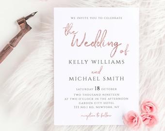 Rose Gold Wedding Invitation Template 5x7 Printable Wedding Invitation Template Editable Invitation Instant Download JPEG PDF Templett M1