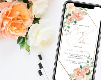 Electronic Bridal Shower Invitation Template Mobile Bridal Shower Template Phone Invitation Phone Editable Templett Electronic Invitation F1