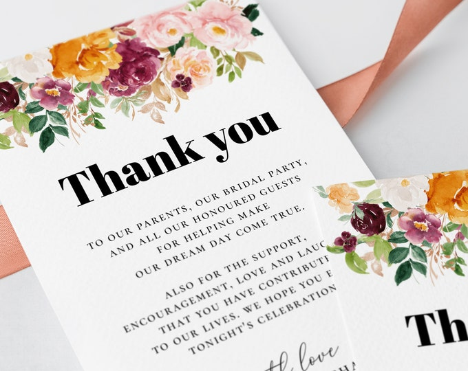 Thank You Card Template Burnt Orange Florals Printable Editable Thank You Template Wedding Thank You Note Card Instant Download Templett F8