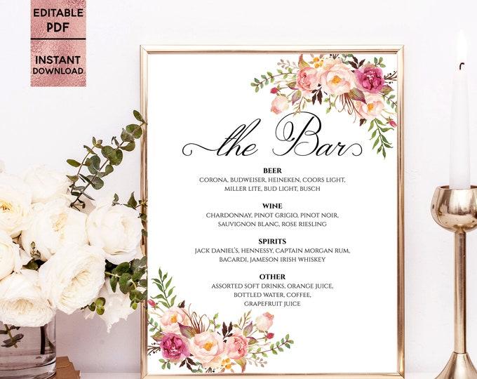 Bar Menu Sign The Bar Sign Bar Menu Printable Drinks Bar Menu Editable Drinks Sign Wedding Bar Menu PDF Template Digital Download