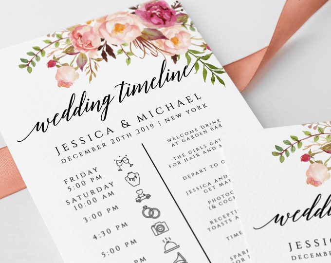 Wedding Timeline Wedding Itinerary Wedding Schedule Order of Events Wedding Day Timeline Icon Timeline Editable Instant Download Templett F4