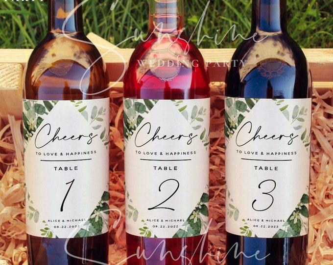 Eucalyptus Editable Wine Bottle Labels, Wedding Party Wine Bottle Label Template, DIY Template, DIY Printable, Instant Download Templett, G3