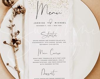 Gold Wedding Menu Template, Printable Modern Menu Template, Editable Flat Wedding Menu, Gold Menu Templett, Instant Download, Templett, M6