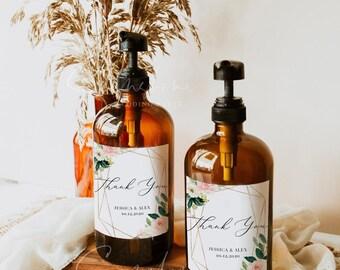 Wedding Hand Sanitizer Labels, Blush Floral Wedding Template, Printable Hand Sanitizer Favor, Editable Text, Instant Download, Templett, F5