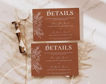Terracotta Wedding Details Card Template, Terracotta Wedding Accommodations Card Template, Modern Terracotta, Instant Download, Templett, T3