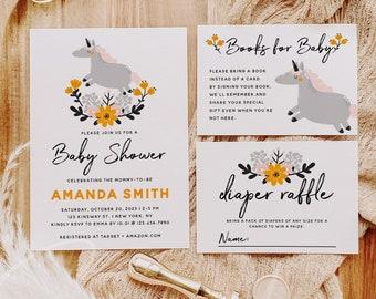Unicorn Baby Shower Invitation Kit Template, Bohemian Unicorn Baby Shower Suite, Printable Baby Shower Invitation Set, Instant Download, B2