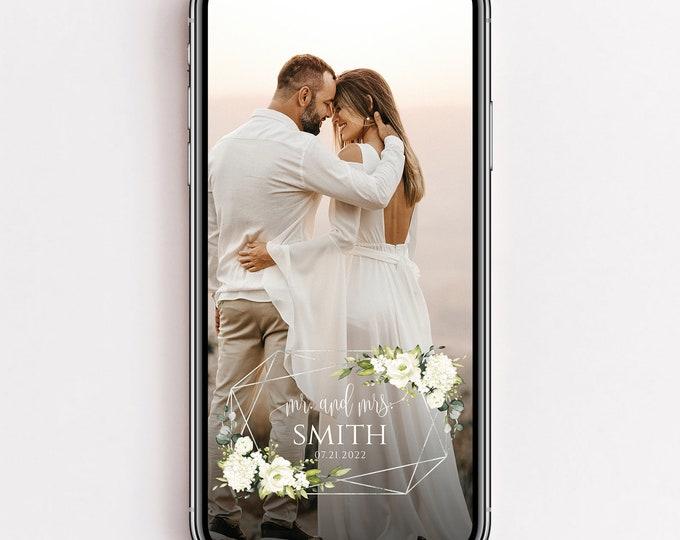Wedding Snapchat Filter, White Floral Wedding Filter, White Greenery, Wedding Snapchat Geofilter, Wedding Snap Chat PNG, Glitter Filter, F7