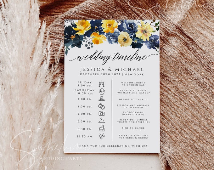 Blue Yellow Floral Wedding Timeline Wedding Itinerary Template Printable Schedule Order of Events, Editable, Instant Download, Templett, F15