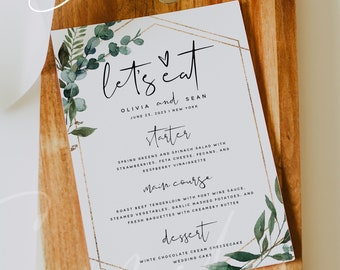Greenery Wedding Menu Cards Template, Printable Greenery Menu Cards, DIY Editable Greenery Menu Card Template, Instant Download, Templett G5