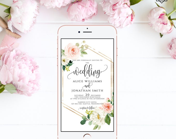 Electronic Wedding Invitation Digital Invitation Wedding iPhone Invitation sms Invitation Editable Invitation Instant Download Templett F5