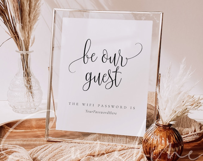 Be Our Guest Wifi Password Sign Template Wedding Wifi Sign Editable Rustic Wifi Sign Printable DIY Wifi Sign Instant Download Templett R1