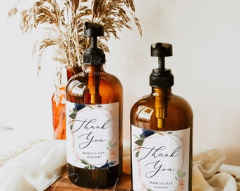 Wedding Hand Sanitizer Labels, Navy Blush Floral Wedding Template, Printable Hand Sanitizer Favor, Editable, Instant Download, Templett, F6