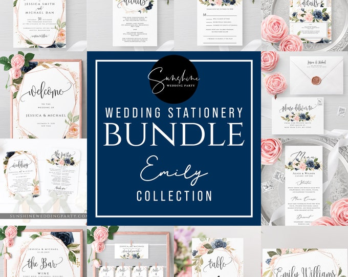 Wedding Bundle Templates, Navy Blush Floral, Wedding Stationery Template Bundle, Printable, Editable Text, Templett, Instant Download, F6