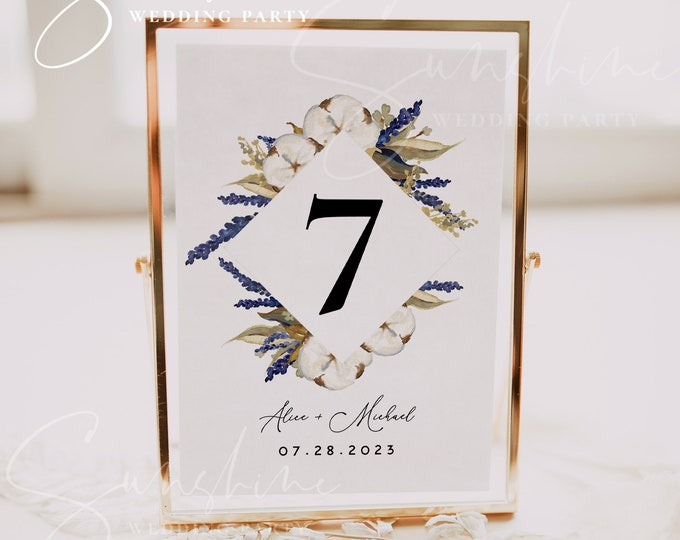 Lavender & Cotton Wedding Table Number Sign Template, Printable Wedding Table Number Card Template, Editable Instant Download, Templett, F14