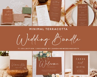 Wedding Bundle, Minimal Terracotta Wedding Essential Templates, Invitation Suite Bundle, Editable Templates, Instant Download, Templett, T1