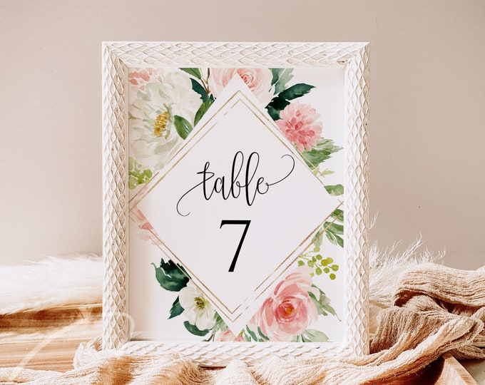 Blush White Floral Wedding Table Number Sign Template Printable Wedding Table Number Card Template Editable Instant Download Templett PDF F5