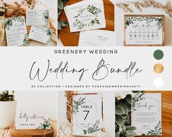 Wedding Bundle, Greenery Wedding Templates, Large Wedding Bundle Templates, Wedding Printable Invitation, Instant Download, Templett, G5