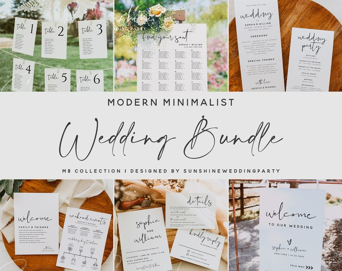 Wedding Bundle, Minimalist Wedding Templates, Large Wedding Bundle Templates, Wedding Printable Invitation, Instant Download, Templett, M8