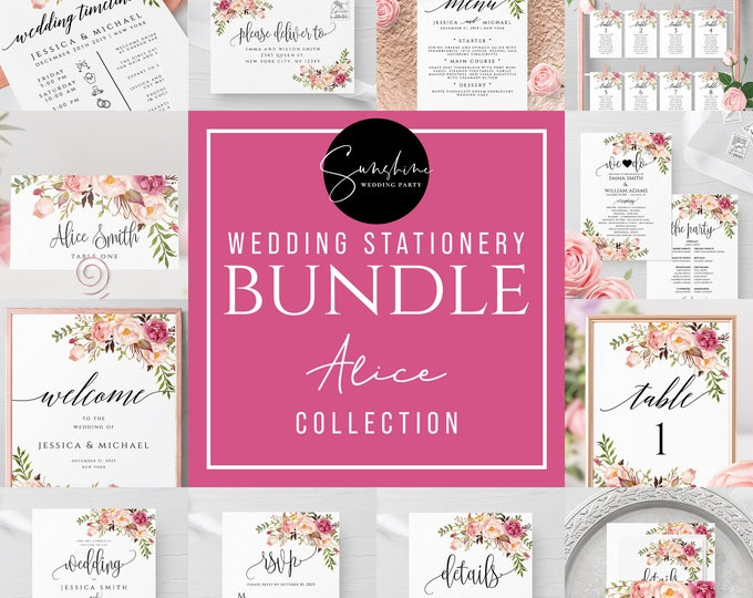 Wedding Bundle Templates, Marsala Floral, Wedding Stationery Template Bundle, Printable, 100% Editable Text, Templett, Instant Download, F4