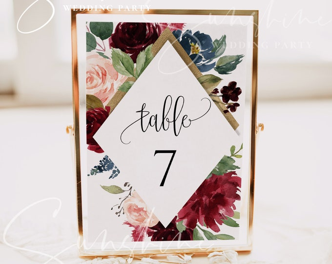Marsala Burgundy Navy Wedding Table Number Sign Template Printable Editable Wedding Table Number Sign Template Instant Download Templett F3
