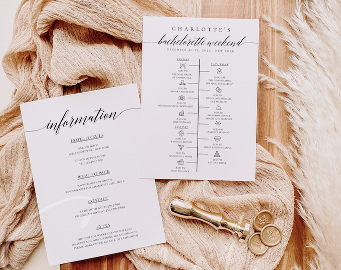 Bachelorette Weekend Timeline Template Wedding Itinerary DIY Weekend Timeline Template Printable Editable Sign Instant Download Templett R2