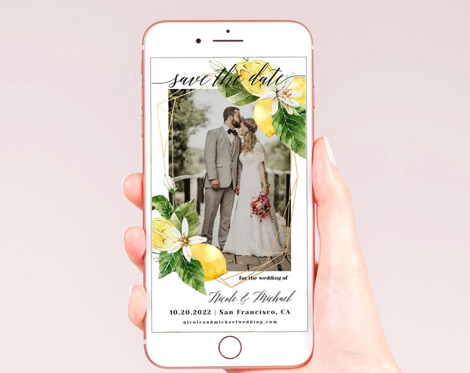 Electronic Photo Save the Date Template, Lemon Wedding, DIY Digital Save the Date, Editable DIY Template, Instant Download, Templett, L1