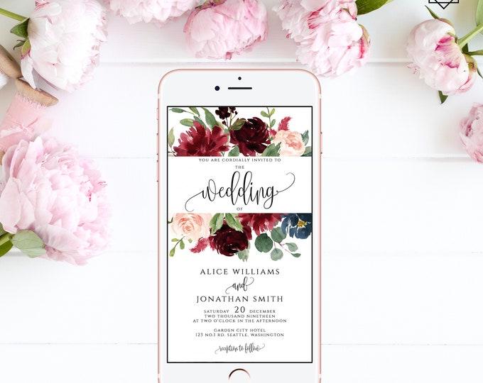 Electronic Wedding Invitation Digital Invitation Wedding iPhone Invitation sms Invitation Editable Invitation Instant Download Templett F3