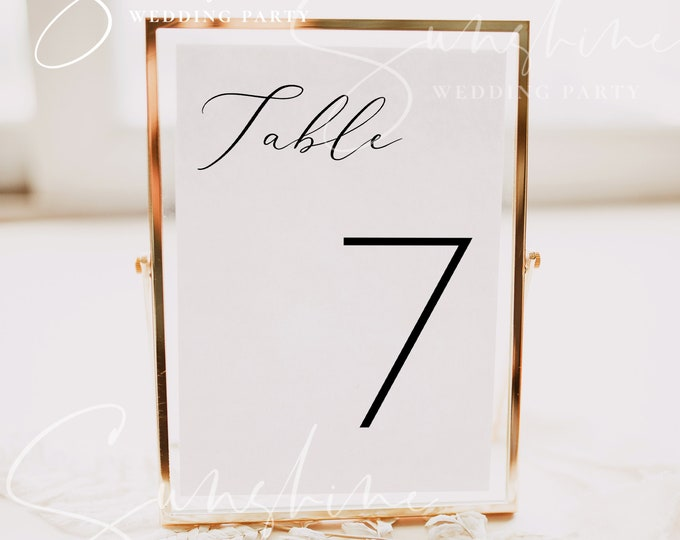 Modern Minimalist Wedding Table Number Template, Simple Table Numbers, Printable Table Numbers, Editable Table Number, Templett, INSTANT, R3