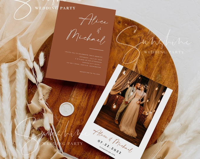 Terracotta Wedding Invitation Template with Photo, Printable Burnt Orange Wedding Invitation with Picture, Modern Minimalist Boho Rustic, T1