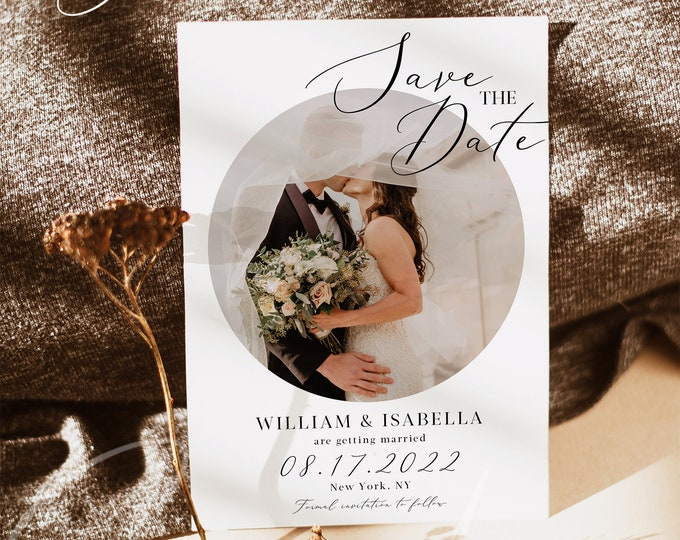 Photo Save the Date Template, Engagement Photo Save the Date, Save the Date with Pictures Template, INSTANT DOWNLOAD, Editable, Template, R3
