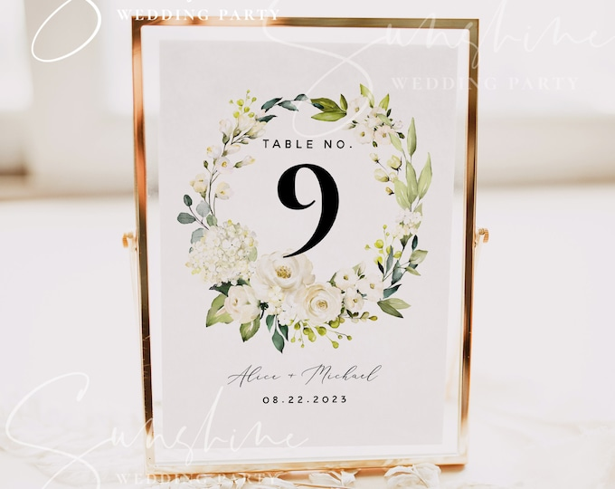 White Floral Wedding Table Number Sign Template, Printable Wedding Table Number Card Template, Editable Sign, Instant Download, Templett, F7