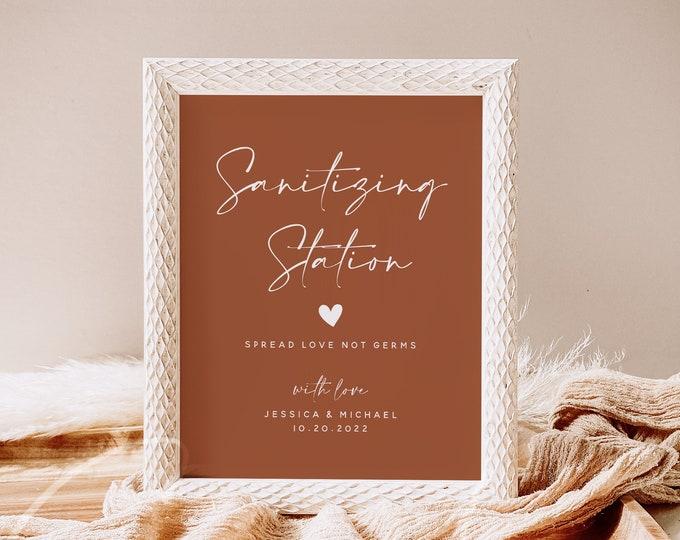 Terracotta Wedding Sanitizing Station Sign Template, Covid Sanitizer Station Sign Printable Hand Sanitizer Sign Instant Download Templett T1