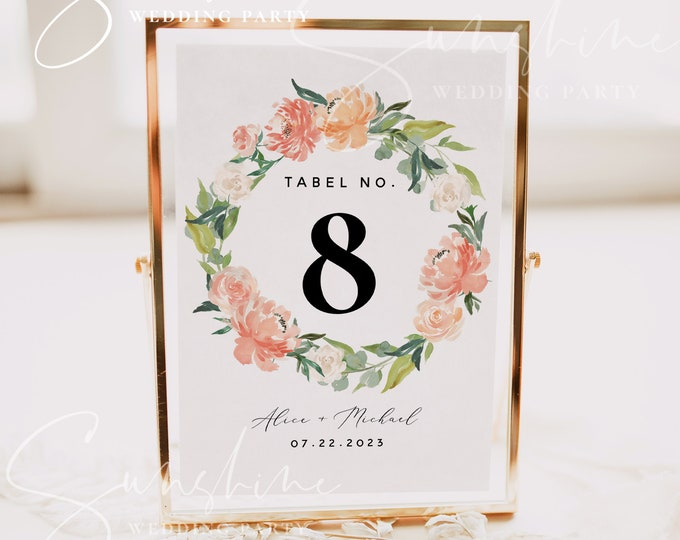 Peach Floral Wedding Table Number Sign Template, Printable Wedding Table Number Card Template, Editable Sign, Instant Download, Templett, F1