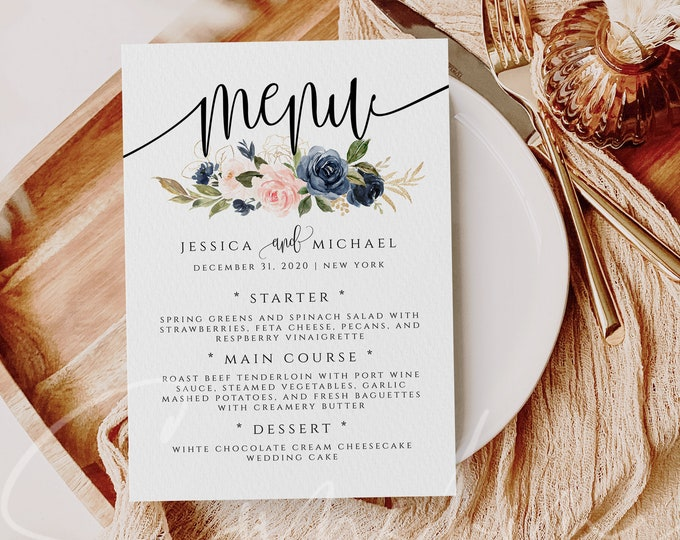 Navy & Blush Wedding Menu Template Printable Menu Editable Menu Wedding Menu Template Menu Template Floral Menu Templett Instant Download F6
