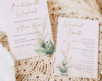 Gold Greenery Bachelorette Party Invitation Template, Greenery Bachelorette Invitation & Itinerary Template Editable Bachelorette Instant G1