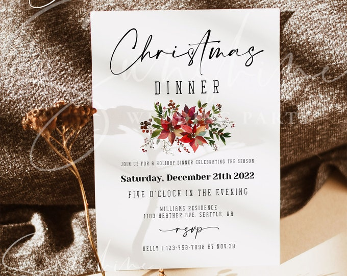 Holiday Christmas Party Invitation Template, Editable Christmas Invitation, Printable Holiday Party Invitation, Instant Download, Templett
