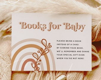 Rainbow Books for Baby Card Template, Baby Shower, Books for Baby Insert Card, Stock the Library Insert Card, Instant Download, Templett, B1