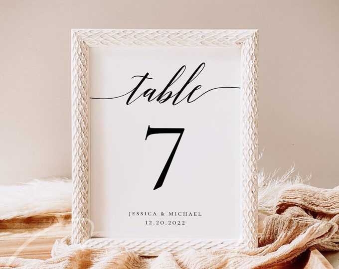 Wedding Table Number Signs Template Printable Table Numbers Calligraphy Rustic Table Number Signs 100% Editable Instant Download Templett R2