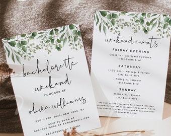 Greenery Bachelorette Party Invitation Template, Bachelorette Weekend Itinerary Invite, Bachelorette Invite, Instant Download, Templett, G5